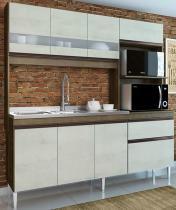 Cozinha Compacta Prince 7 Portas 2 Gavetas Casamia Dark com Snow -