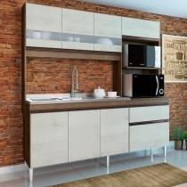 Cozinha Compacta Prince 7 Portas com Balcão para Pia - Dark/Snow - Casamia