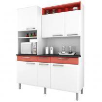 Cozinha Compacta Regina 6 Portas I3G3-155 Branco/Salmão 2V - Itatiaia - Itatiaia