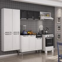 Cozinha compacta rose com balcão 3 portas 1 gaveta em aço - preto - Itatiaia