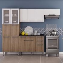 Cozinha Compacta sem Balcão 3 Módulos Cacau 4 Itatiaia Carvalho Hanover/Branco - Itatiaia
