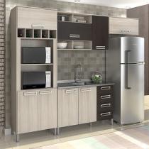 Cozinha Compacta Somopar Letícia - Nicho para Micro-ondas 8 Portas 4 Gavetas