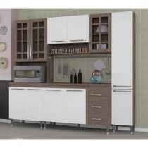 Cozinha Completa 4 Peças Louise Indekes Nogal/Branco/Nogal - Indekes