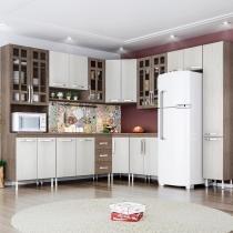 Cozinha Completa 9 Peças Louise Indekes Nogal/Salina/Nogal