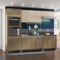 Cozinha Completa Balcão com Tampo para Cooktop 5 Peças Kely Siena Móveis Rústico/Avelã - Siena Móveis