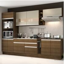 Cozinha Completa com Balcão sem Pia e Tampo 7 Peças 225cm Vicenza Madesa Amêndoa/Tirol/Bp Bronze - Madesa