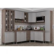 Cozinha Completa com Tampo 8 Peças Paneleiro Duplo Louise Indekes Nogal/Salina/Nogal - Indekes