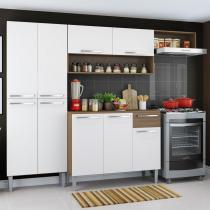 Cozinha Completa Compacta Madesa Emilly com Armário e Balcão - Rustic/ Branco -