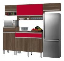 Cozinha Completa Detroit 2.4 Noce com Vermelho - CSA Móveis - CSA Móveis