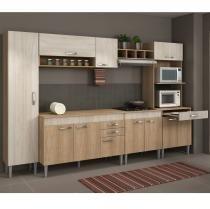 Cozinha Completa Flex com Tampo Classic 11 Portas Fellicci Carvalho/Blanche - Fellicci