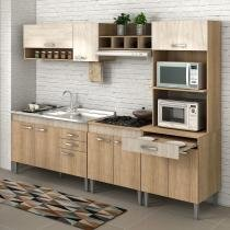 Cozinha Completa Flex sem Tampo Classic 10 Portas Fellicci Carvalho/Blanche -