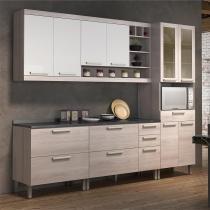 Cozinha completa Nesher Gold 10 - Branco/Amadeirado - Nesher -