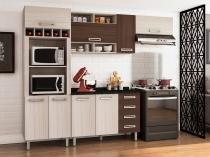Cozinha Completa Poliman Móveis Luiza com Balcão - Nicho para Micro-ondas 4 Gavetas