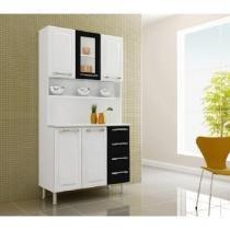 Cozinha Criativa com 5 Portas 4 Gavetas I31V-C Branco/Preto - Itatiaia - Itatiaia