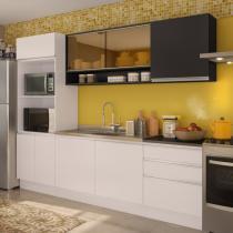 Cozinha Glamy Angela Branco/Preto - Madesa - Branco - Madesa