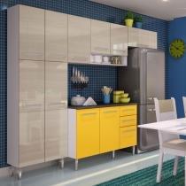 Cozinha Glamy Elis Jasmin Branco/Tirol/Amarelo - Madesa - Branco - Madesa