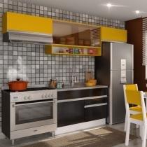 Cozinha Glamy Marina Branco/Ébano/Amarelo - Madesa - Branco - Madesa
