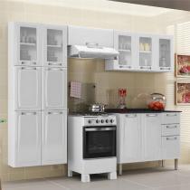 Cozinha Itatiaia Luce Compacta 4 Pecas 5 Vidros Branco Paneleiro Armario Aereo Gabinete -