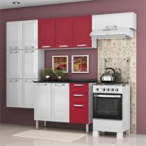 Cozinha Itatiaia Luce Compacta 4 Pecas Branco/Vermelho Paneleiro Armario Aereo Gabinete -