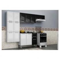 Cozinha Modulada Luce 13 Portas e 2 Gavetas em Aço Branco / Preto Itatiaia - Itatiaia