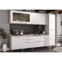 Cozinha Modulada Solaris 07 Módulos Kit 6 Carvalle/Branco/Azulejo - Kappesberg -