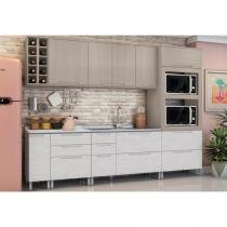 Cozinha Modulada Solaris 08 Módulos Kit 4 Carvalle/Pedra - Kappesberg -