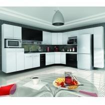 Cozinha modulado ônix 15 peças  branco/preto - Qd