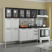 Cozinha Tarsila em Aço 13 Portas 2 Gavetas Branca/Preta - Itatiaia
