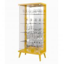 Cristaleira 02 Portas de Vidro Tifanny Amarelo Brilho - Imcal - Imcal