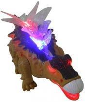 Dinossauro De Brinquedo Com Luzes E Som Estegossauro Bege (DMT4723) - DM Brasil
