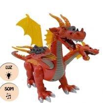 Dinossauro dragao com 3 cabecas jurassic anda sozinho park com luz led movimentos e som - Gimp