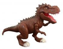 Dinossauro Tiranossauro Attack Som e Luz 37cm Adijomar - Marrom -