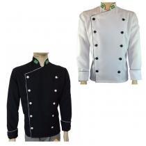 Dólmã Chef de Cozinha Tradicional Oxford Branco + Dolmã Chef Preto - Wp confecções