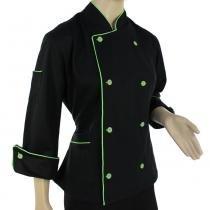 Dolmã Chef  Feminina  De Cozinha Angel Preto Com Verde - Algodão - Wp confecções