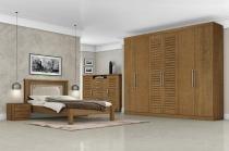 Dormitório Completo Casal Columbia Carvalho 10 - Tebarrot Móveis -