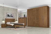 Dormitorio Completo Casal Montreal Carvalho - Tebarrot Móveis -