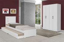 Dormitório Completo Solteiro Dubai com Barcelona Branco - Tebarrot Móveis -