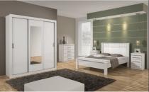 Dormitorio lopas apoena casal completo 4 peças branco -