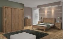 Dormitorio lopas apoena casal completo 4 peças carvalho soft -