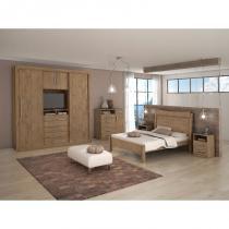 Dormitorio lopas audace casal completo 4 peças carvalho soft -