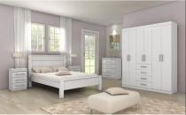 Dormitorio lopas hector casal completo 4 peças branco - Comercio ind e transporte lopas s/a
