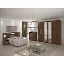 Dormitorio lopas ideale casal completo 3 peças imbuia soft - Comercio ind e transporte lopas s/a