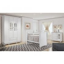 Dormitório Selena Guarda Roupa Infantil 4 Portas Cômoda Fraldário Berço Mini Cama Mirelli - Carolina Baby -