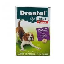 Drontal Plus Carne Cães 10kg 4 comp Bayer vermífugo oral -