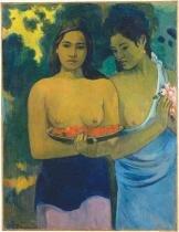 Duas Taitianas - Gauguin  Tela Pequena Para Quadro - Santhatela