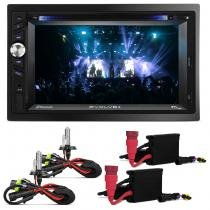 DVD Player 2 Dim Multilaser Evolve+ MP3 USB SD TV Bluetooth Touch GPS + KIT Xenon H4-2 6000K - Linha Prime