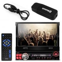 DVD Player Automotivo AR-70 1 Din 7 Pol Retrátil USB SD AUX FM + Adaptador Bluetooth Música Receptor - Prime