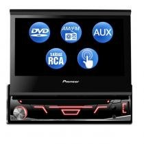 DVD Player Automotivo Pioneer 1 Din Retrátil AM FM USB AUX Touch Screen Produto Refurbished Outlet -