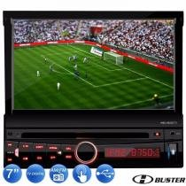 Dvd Player Automotivo Retrátil 7 + Par Encosto + Camera Ré - H-BUSTER