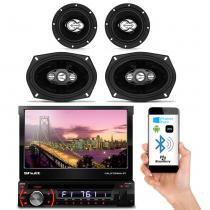 DVD Player Automotivo Shutt Califórnia BT Bluetooth 7 Pol Retrátil USB SD MP3 + Kit Fácil Champion - Prime